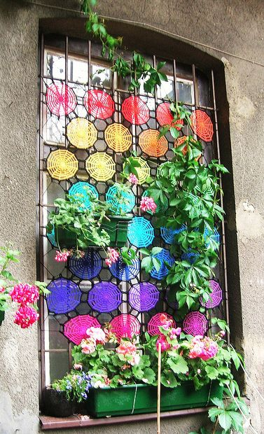 colorful  #window: Crochet Curtains, Window Curtains, Crochet Projects, Color, Rainbows, Window Treatments, Bathroom Window, Stained Glasses, Window Covers