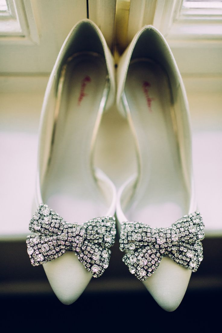 Rainbow Club jewel encrusted bow bridal shoes