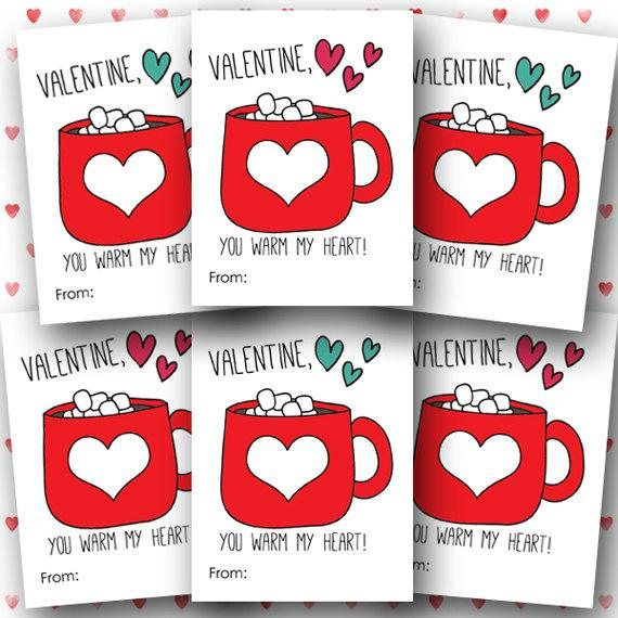 picture about Printable Kids Valentines Cards named PRINTABLE young children Valentines very hot chocolate Valentines scorching cocoa