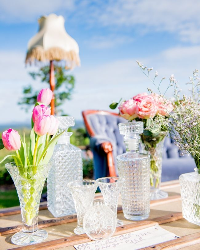decanters and flowers