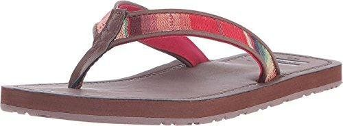 TOMS Women's Solana Flip Flop Brown Multi Textile Sandal 12 B (M). Cushioned EVA footbed with arch support. Vegan. TOMS flag at toe post. Rubber outsole.