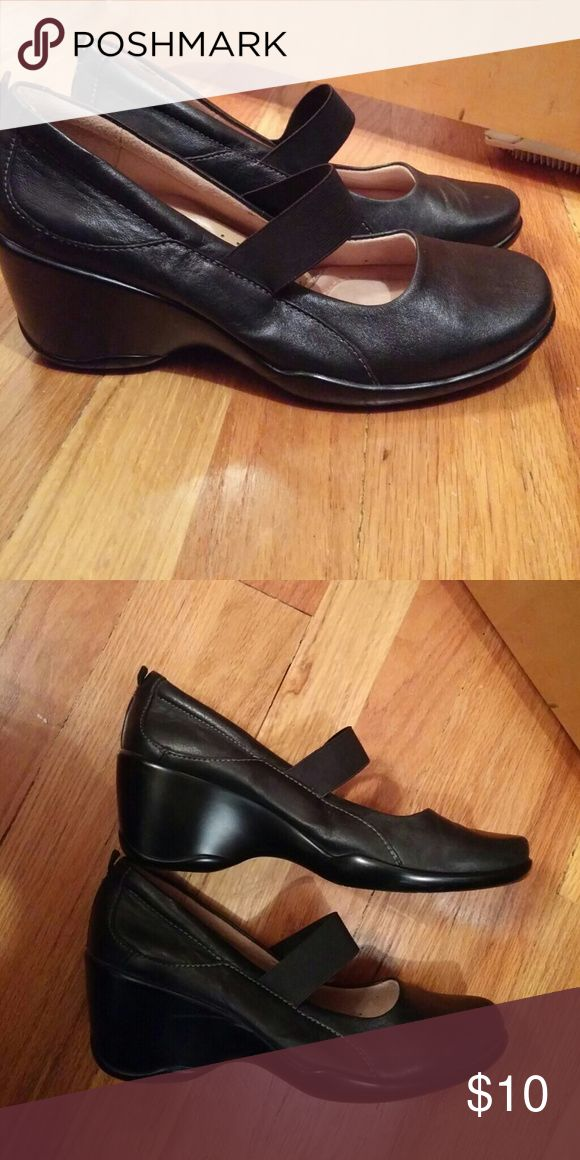Shoes Black leather wedge heel Naturalizer Shoes Wedges