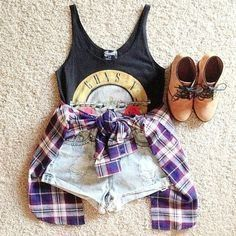 Tanktop, flannel, and high waisted shorts