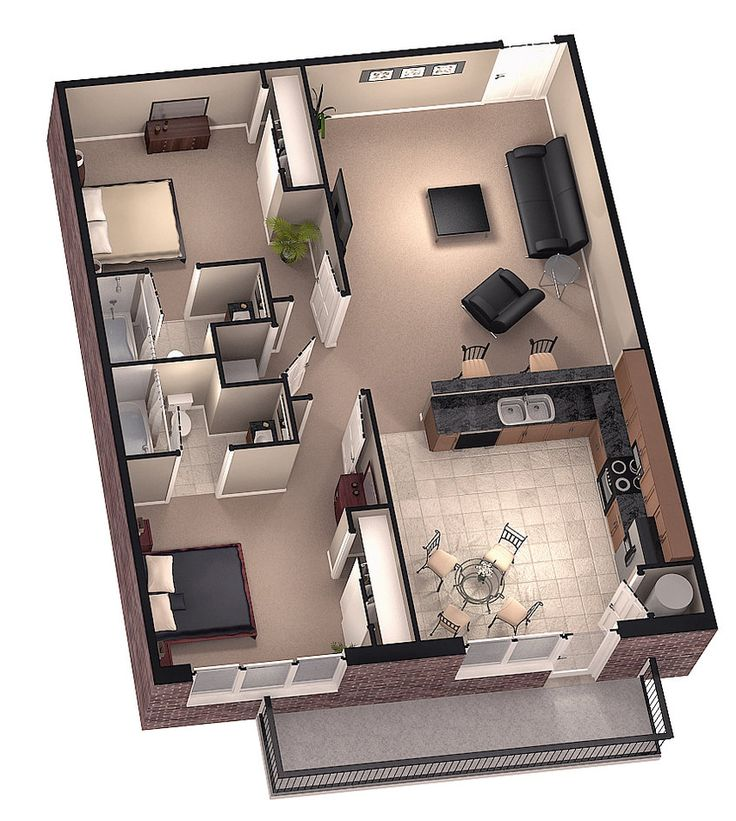 Tiny house floor plans brookside 3d floor plan 1 by for Modern 2 bedroom apartment design