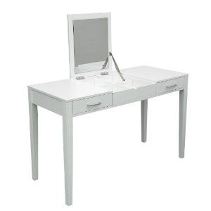 Superb HomCom Modern White Dressing Vanity Table Make Up Writing Desk W/ Flip  Mirror U0026 Storage   White