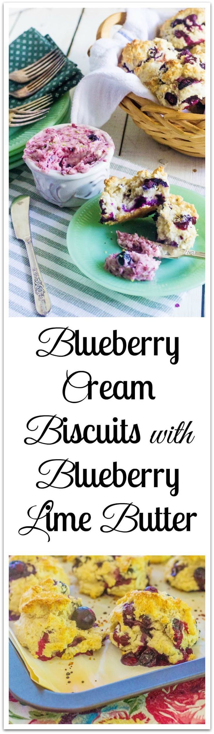 Blueberry Cream Biscuits with Blueberry Lime Butter. Easy-to-make cream biscuits don't require rolling or cutting. #OhSweetFlavor #ad