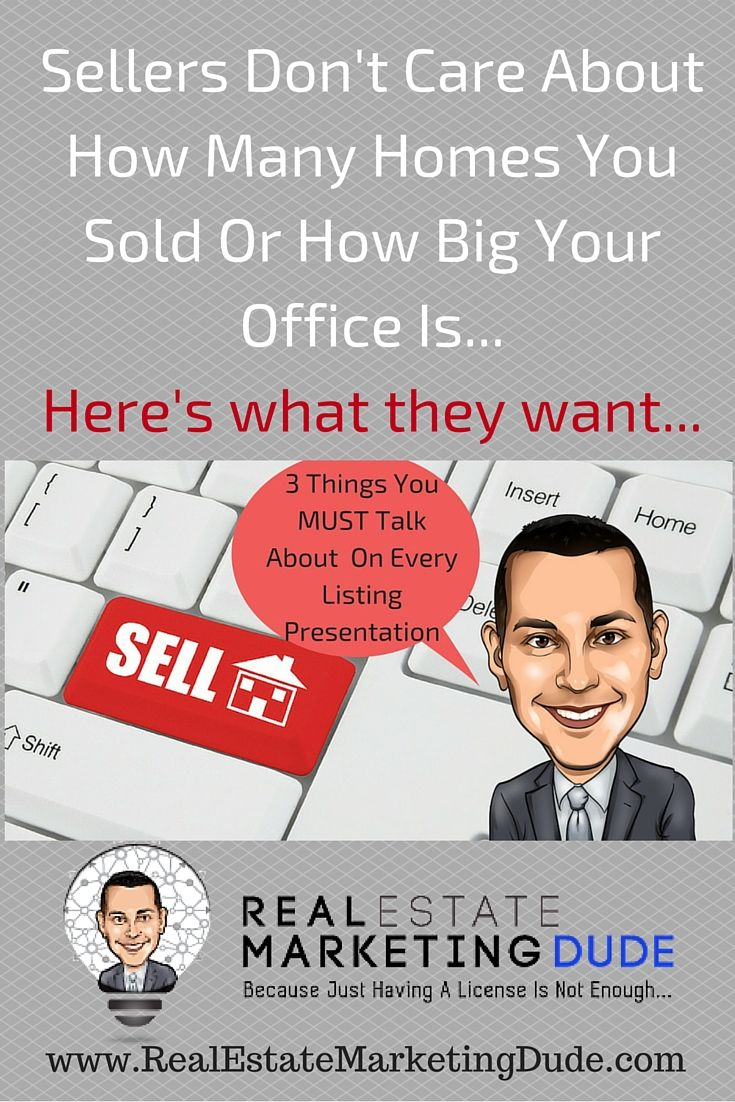 Do you have marketing plan for your listings? Here's the best thing to cover on your next listing presentation. Real estate marketing at it's finest. http://www.realestatemarketingdude.com/the-3-things-you-must-talk-about-on-every-listing-presentation/