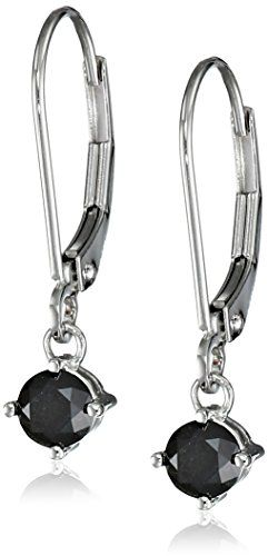 14k White Gold Black Diamond Earrings (5/8 cttw)by Amazon Collection