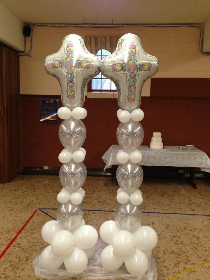 Best 25 christening balloons ideas on pinterest balloon for Balloon decoration ideas for baptism