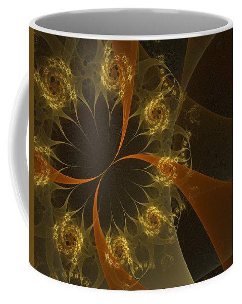 Fractal Coffee Mug featuring the digital art Fire Flowers by Elena Ivanova IvEA  #ElenaIvanovaIvEAFineArtDesign #Decor #Mug #Cup #Gift