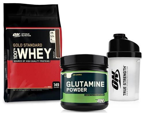 Optimum Gold Standard Whey 4540 gr + Optimum Glutamine Powder 630gr + Shaker Kombinasyonu, whey protein tozu, 630 gr glutamin amino asit ve shaker içeren supplement kampanyasıdır.