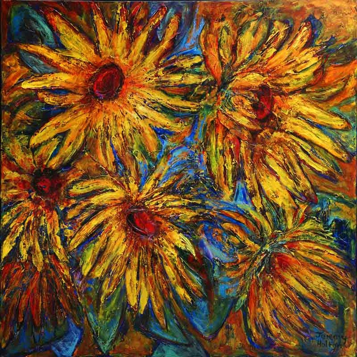 'Sunshine' by Jeremy Holton  120 by 120 cms oil on canvas  #flower #yellow #sunflower #Van Gogh $3900
