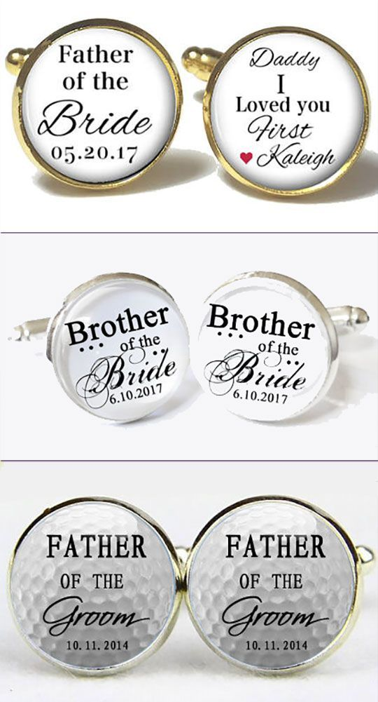Groomsmen or father of the bride wedding gift idea: personalized cufflinks. My favorites are these kinds with the mixed fonts, and I like that they will make the middle and bottom ones with any custom message or photo you want. There are links to these on the page. #Groomsmen #Cufflinks #FOB #FOG #MyOnline WeddingHelp