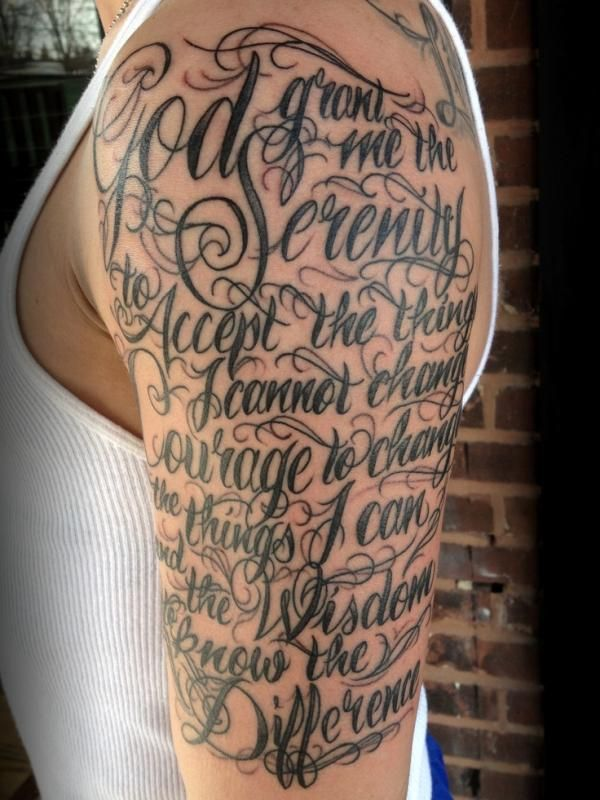 Serenity prayer tattoos | serenity prayer tattoo, half sleeve tattoo design