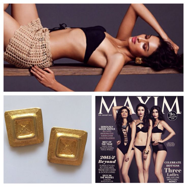 Our vintage gold toned chunky square studs featured in the Maxim magazine, January 2015 issue!