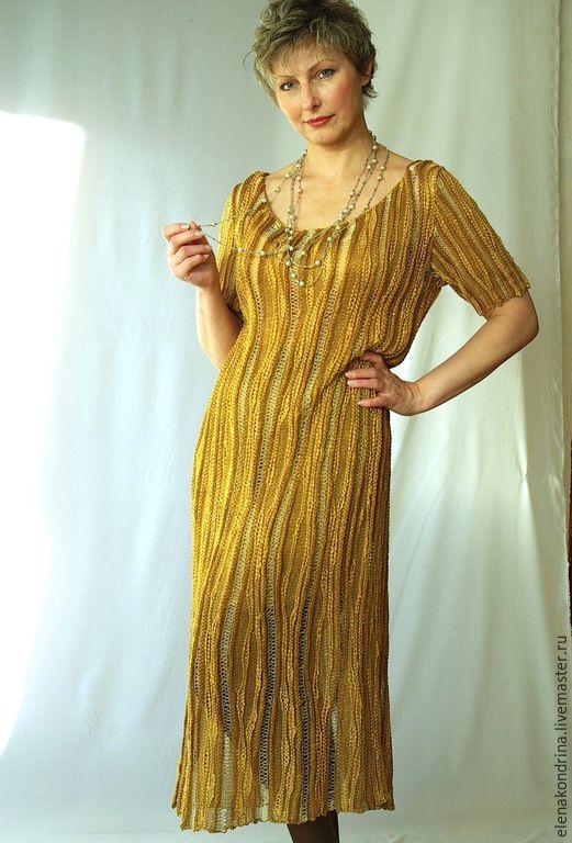 """Купить Платье """"Золотое"""" - золотой, дизайнерская одежда, авторский трикотаж, элегантное платье, трикотажное платье"""
