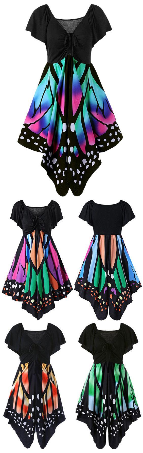 $15.03 Plus Size Empire Waist Butterfly Print Dress
