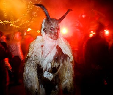 Austria & Hungary - Instead of a bag full of toys, Krampus carries chains and a basket for abducting especially bad children and hauling them to hell. Experience this holiday tradition at Krampusnacht parties and Krampus Runs, during which rowdy revelers cavort through town in beastly costumes.
