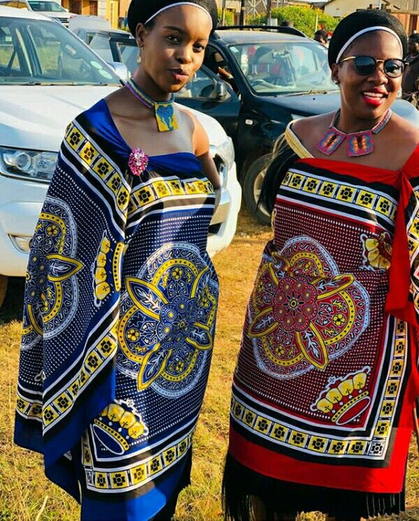 Ladies In Blue and Red Swati Emahiya Traditional Attire