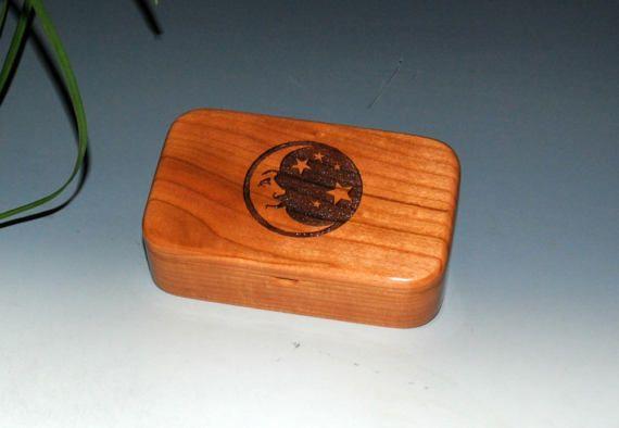 Moon & Stars Laser Engraved Cherry Wood Treasure Box Gift Box Trinket Box Stash Box- Small Wooden Box by BurlWoodBox- Handmade Small Box by BurlWoodBox