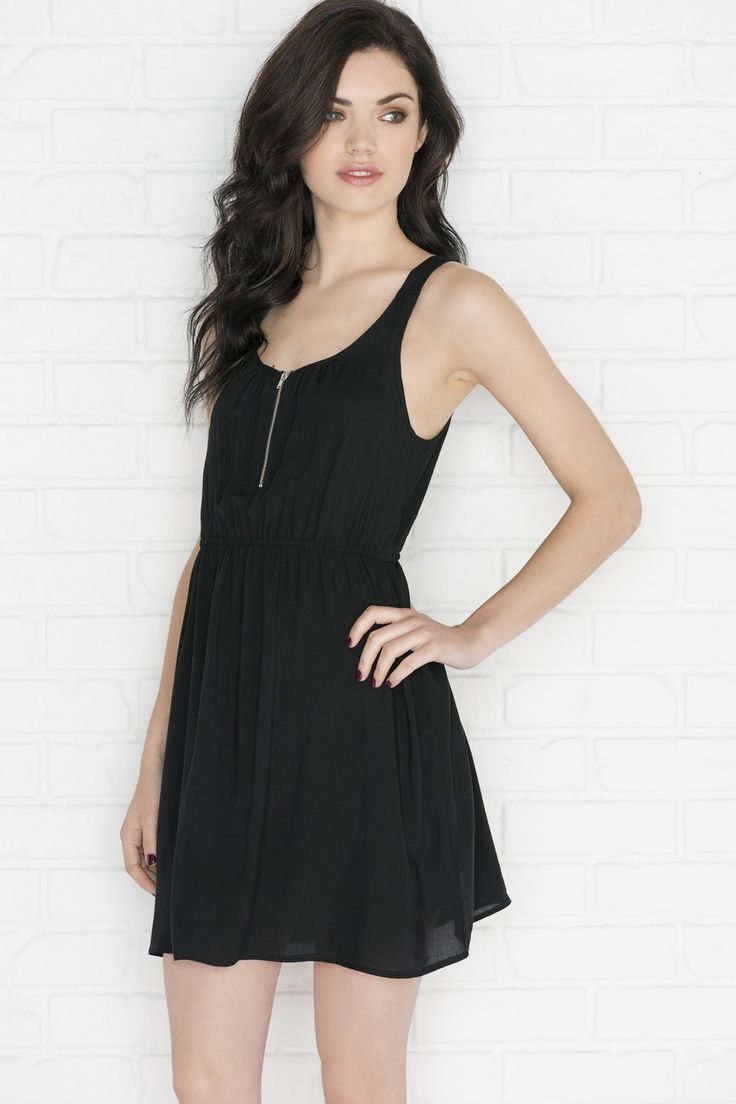 Black rayon dress with zipper - New Arrivals