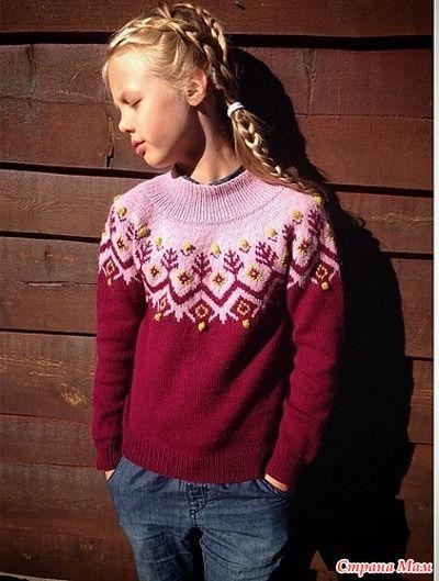 Ещё один свитер с жаккардовой кокеткой. Тонкие вязаные свитера является важной частью элемента моды снова.  Размеры  Overvidde: 87 (95) 100 (105) 109 (117) см.