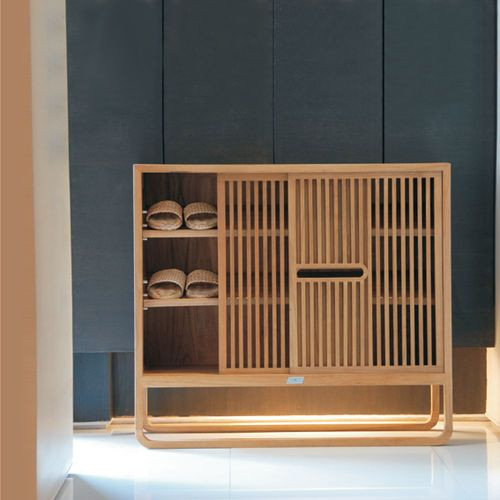 Contemporary shoe rack / teak AMORE PLATO