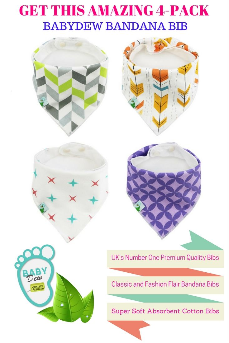 BabyDew's premium quality Bandana Bibs set the industry standard for trendy and comfortable baby bibs! Visit https://www.amazon.co.uk/dp/B01H3UA5PE and use coupon code 'GT25PDIS' to get 25% mega discount.     Our Bibs come with unique 3-layers : organic Cotton, Bamboo and waterproof Fleece making it super soft and ultra absorbent.  BabyDew's classic & fashion flair bibs will get non-stop compliments for your rocking baby.    Don't forget you are fully covered with our 30 days money back gu
