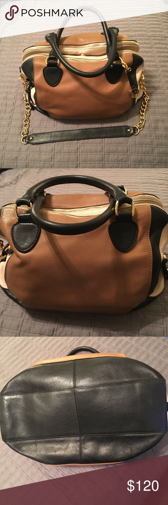 """💋SALE💋Audrey Brooke Purse Adorable previously loved tri-color satchel. Measurements 16"""" length, 11"""" Height, 8"""" Depth, 8.5 strap drop, 15"""" long strap drop. It has short handles and a long shoulder strap. The inside includes 3 sections, with one inside zipper pouch and 2 pockets. There are some slight stains on the inside leather shown in picture. The edges have a little wear where the straps attach. The inside has slight pilling, most not noticeable, overall the purse is still in great…"""