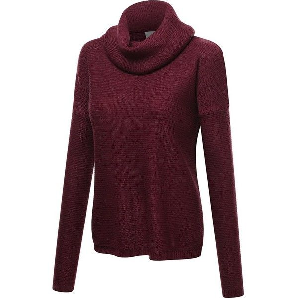 FPT Womens Cowl Neck Long Sleeve Knit Sweater ($11) ❤ liked on Polyvore featuring tops, sweaters, knit cowl neck sweater, purple cowl neck sweater, long sleeve cowl neck top, purple knit sweater and long sleeve knit sweater