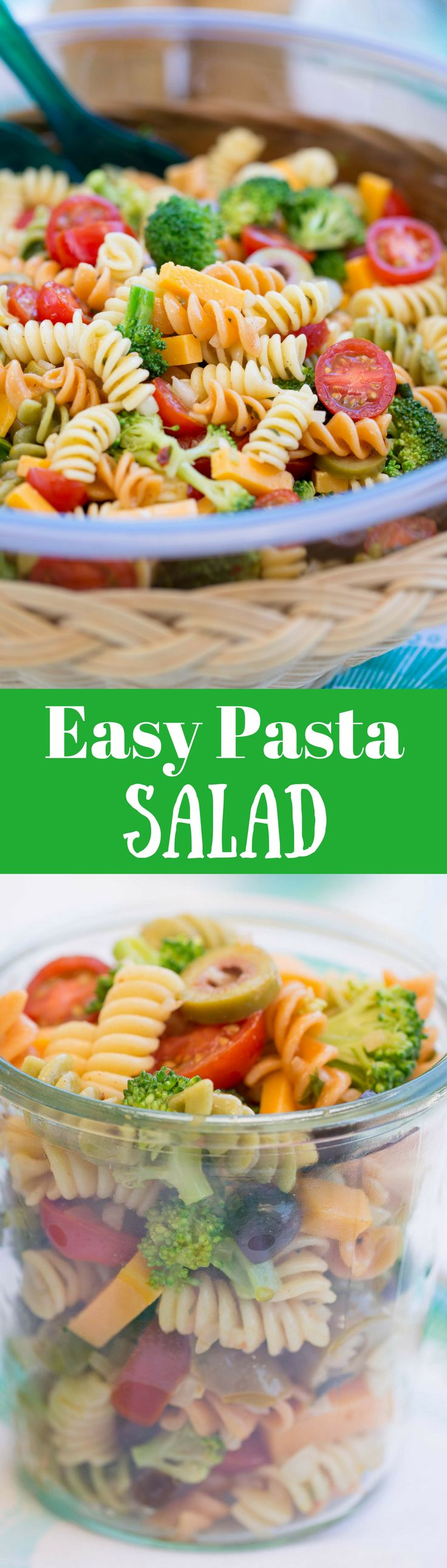 Easy Pasta Salad with Zesty Italian Dressing ~  packed with flavor and crispy fresh broccoli then marinated with a zesty Italian dressing. Leftovers are the best!   www.savingdessert.com   | easy pasta salad | pasta salad | zesty Italian dressing | summer salad | easy salad