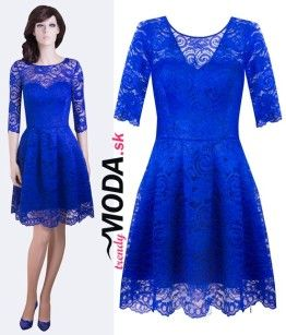 Modré krajkové šaty - trendymoda.sk