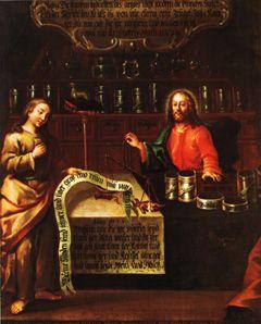 Jézus Krisztus, a gyógyszerész – olajfestmény a bécsi orsolyiták gyógyszertátából