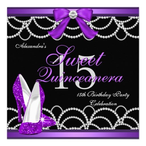 Quinceanera Purple Sweet 15 Party Glitter Black Announcement