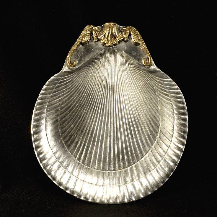 "Arthur Court Shell Plate with Brass Seahorse – 1970's – 7 ⅝"" x 8 ⅞"" #ArthurCourt"
