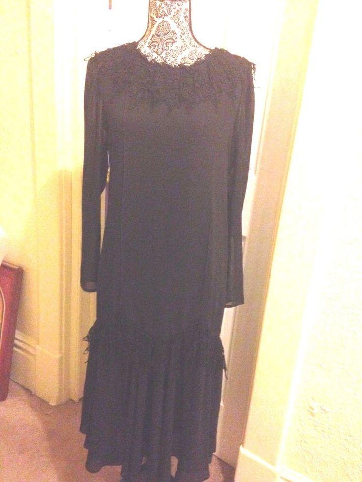 VINTAGE DIANE VON FURSTENBERG 1980S BLACK FORMAL DRESS SZ 10 CROCHETED LACE #DianeVonFurstenberg…