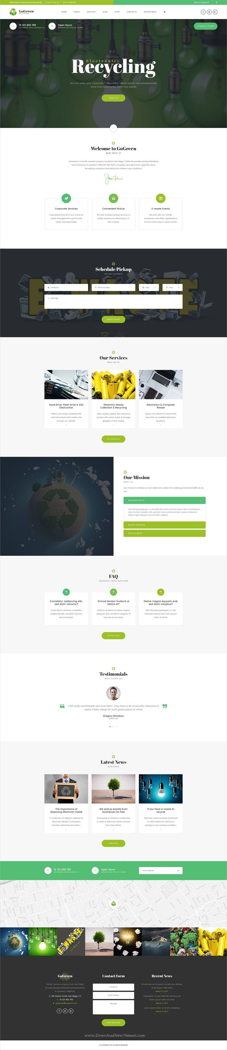 GoGreen is clean and modern design #Photoshop template for #waste management and #recycling company website download now > https://themeforest.net/item/gogreen-waste-management-and-recycling-psd-template/19944058?ref=Datasata