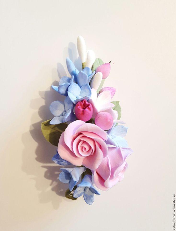 Купить Брошь с цветами из полимерной глины гортензия и розы - комбинированный, розовый, голубой, нежное украшение