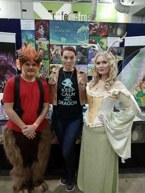 Team Dragon Calling! Author with her cosplay helpers (Norf the satyr and Megandel the faerie queen). 2017 Brisbane Supanova
