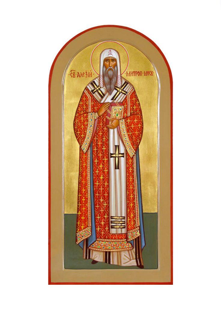 Святой Алексий митрополит Московский и всея Руси, 2010г., дерево, темпера #rkpm