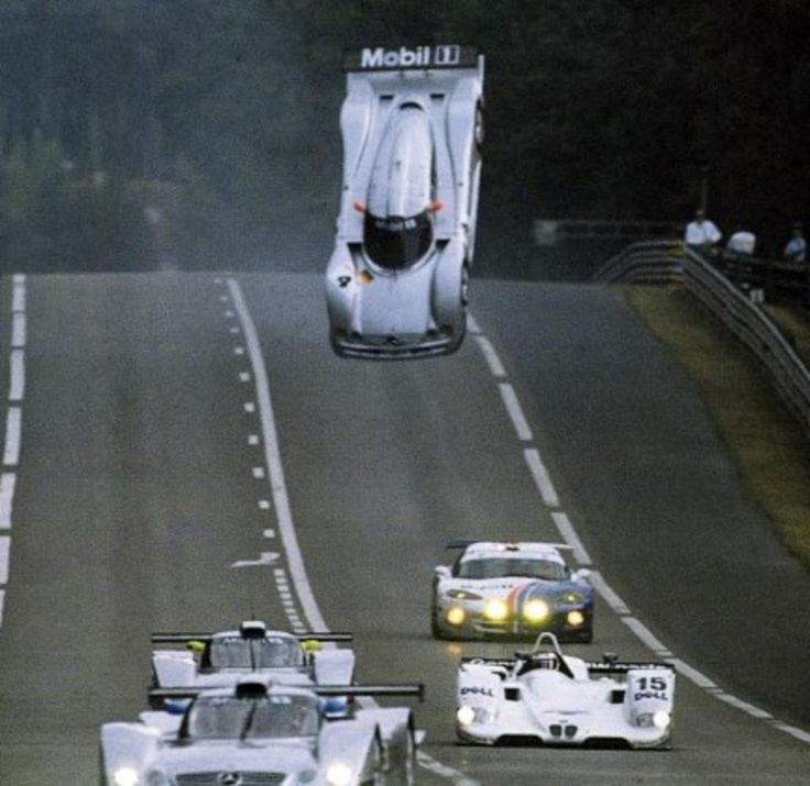 Le Mans 1999 warm up and Mark Webber's Mercedes does a back flip on the Mulsane straight.