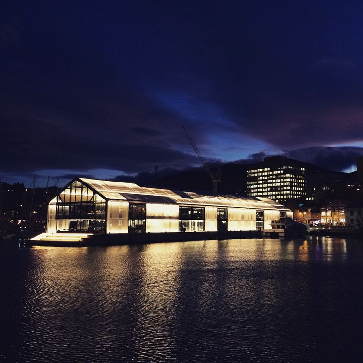 Winter in Hobart, Tasmania. Here's a night time view of Brooke Street Pier and the Glasshouse restaurant on the waterfront.