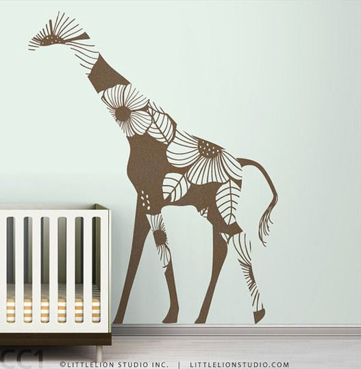 Giraffe silhouette, maybe do this as fabric wall decal in L's room.
