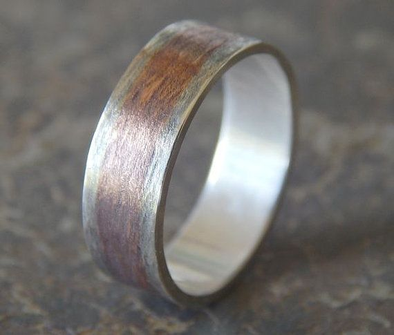 RUSTIC TEXTURED Silver & Copper Men's Wedding Band // by PaulZozem