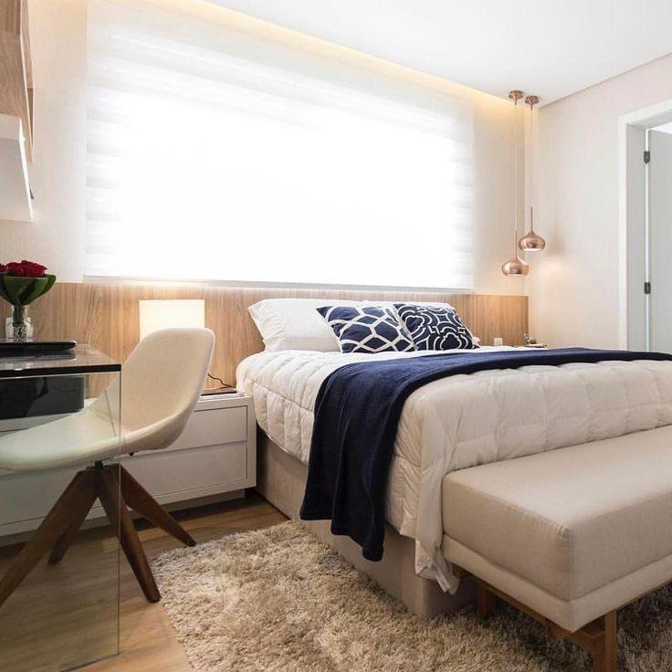Boa noite {} Ótima solução para a cabeceira da cama que fica na parede da janela { Projeto Aline Dal'Pizzol Arquitetura }
