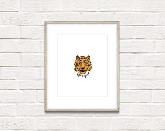 Go Tiger Digital Art Print, Instant Digital Download, Printable Art, Wall Art Print, Modern Print, Tiger Print, Motivational Art