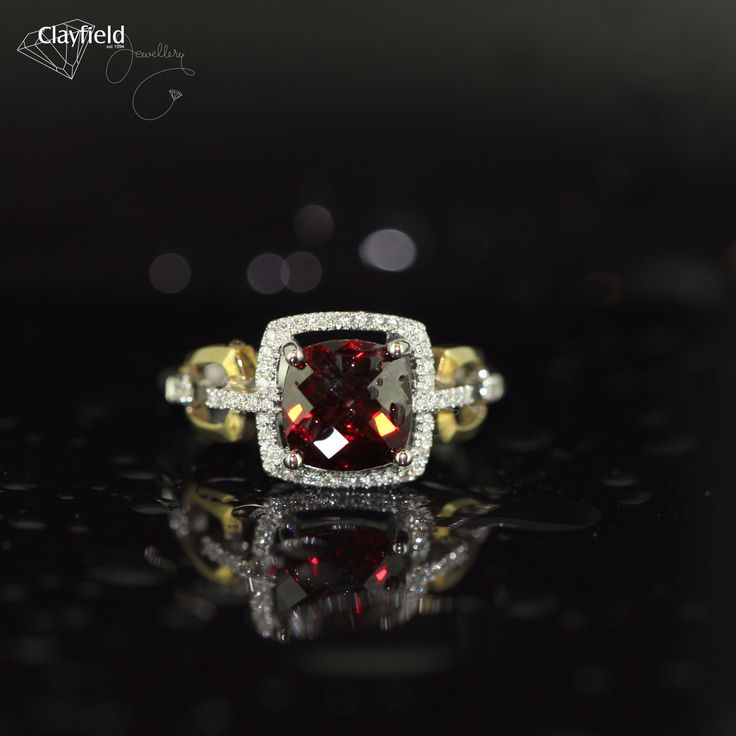 Garnet and diamond cushion by Clayfield Jewellery in Nundah Village - North Brisbane