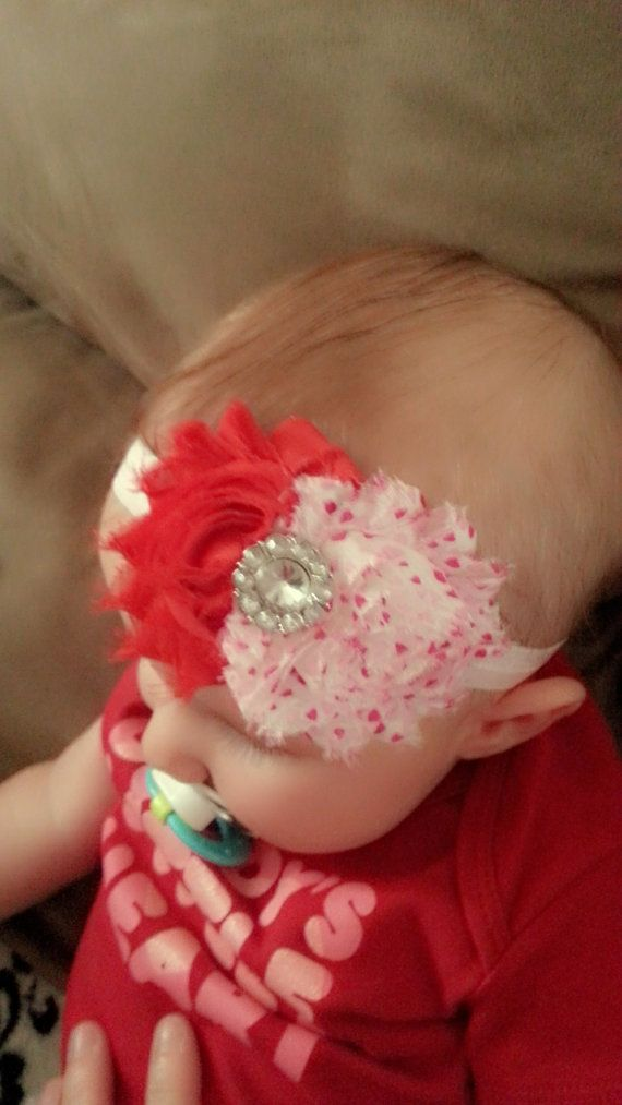 Super Cute Valentines Day Headband~1 Red Shabby, 1 Shabby with Hearts and Fancy Embellishment-Made in any size