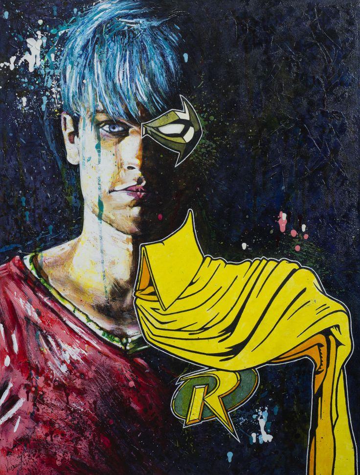 """SideKick"" by Vernon Fourie Oil & Acrylic on Canvas popart, portrait, superhero, batman, robin, dccomics"