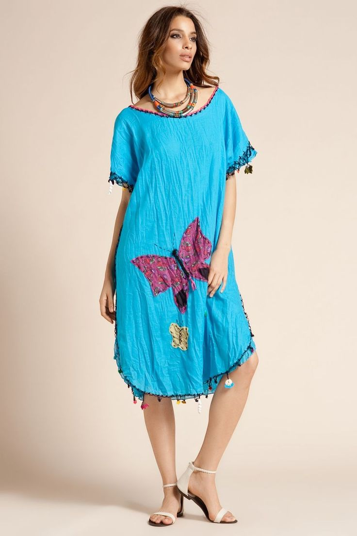 otantik elbiseler | Otantik Bitez Elbise - Turkuaz